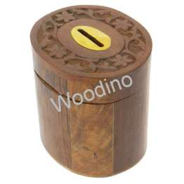 Woodino Wooden Oval Top Carved Coin Box
