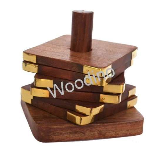 Woodino Pole Middle Stick Wooden Coaster Set