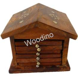 Woodino Hut Shape Brass Work Sheesham Wood Coaster