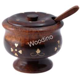 Woodino Brass Work Small Spice or Sugar Pot With Spoon