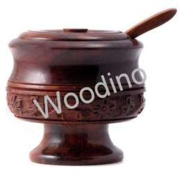 Woodino Carved Small Spice or Sugar Pot With Spoon