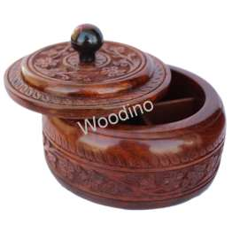 Woodino Wooden Carving Round Spice Container - 6 Inch