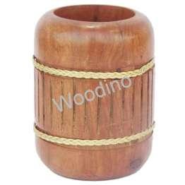 Woodino Round Golden Strip Sheesham Pen Jar
