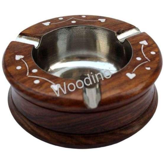 Woodino Round White Work Sheesham Wood Ashtray