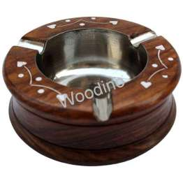 Woodino Round White Work Sheesham Wood Ashtray