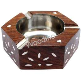 Woodino Hexa Design Wooden White Work Ashtray