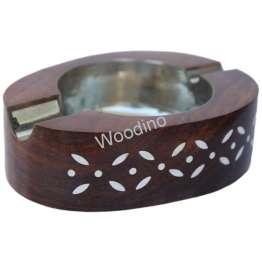 Woodino Sheesham Wood White Work Oval Ashtray