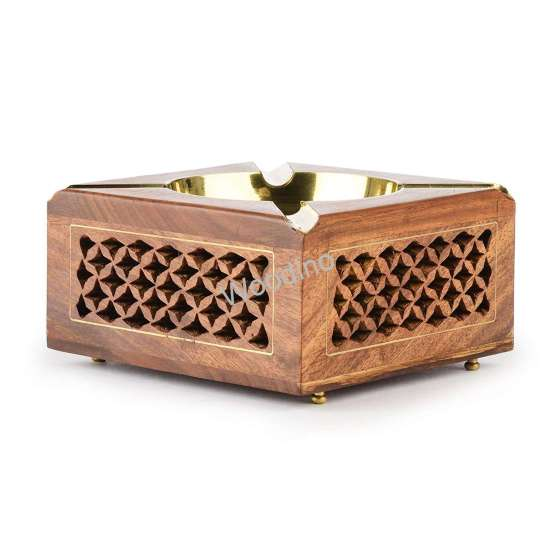 Woodino Brass Bowl Fitted Wooden Net Ashtray