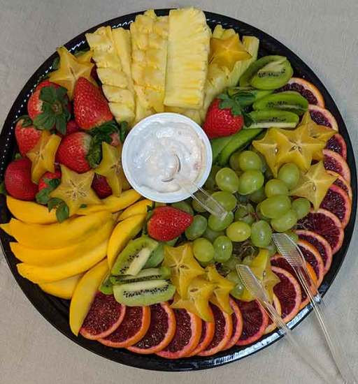 A fruit plate from overhead