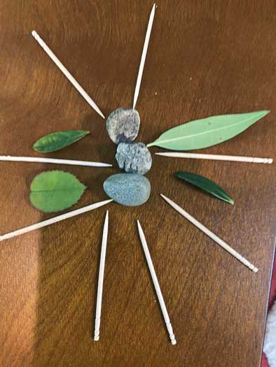 """An """"insect"""" made out of leaves and twigs"""