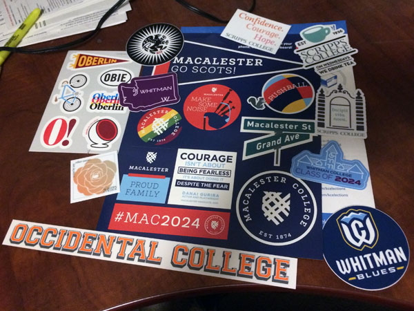 A collage of college stickers