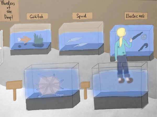 A drawing of a girl looking at creatures in an aquarium