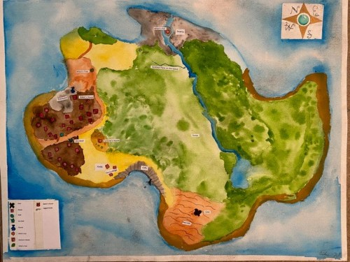 A colorful handmade map