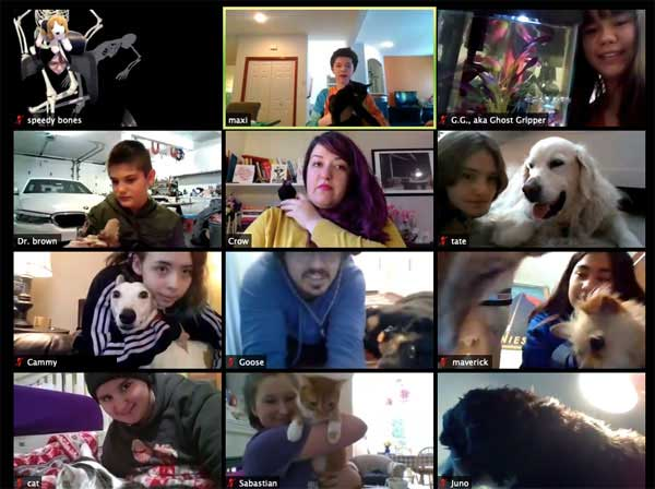 A screen capture of a videoconference with people holding a variety of pets