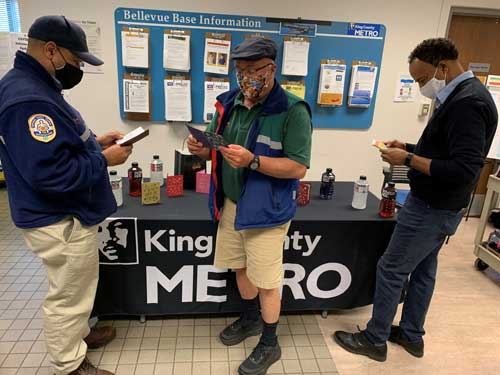King County Metro employees read handmade cards
