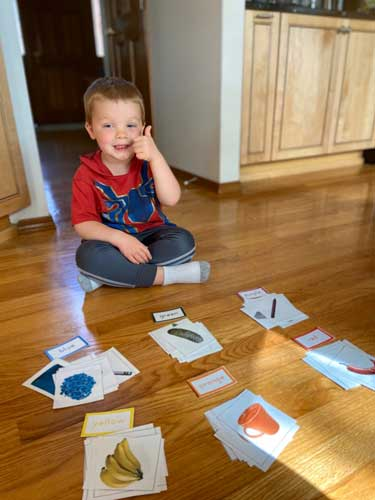 A little boy gives a thumbs-up sign as he sits beside cards showing different colored items.