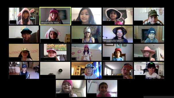 A video conference screen capture of students and teachers in class