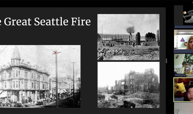The Great Seattle Fire, showing how a building and a whole city block were destroyed by the fire, leaving ruined hulks.