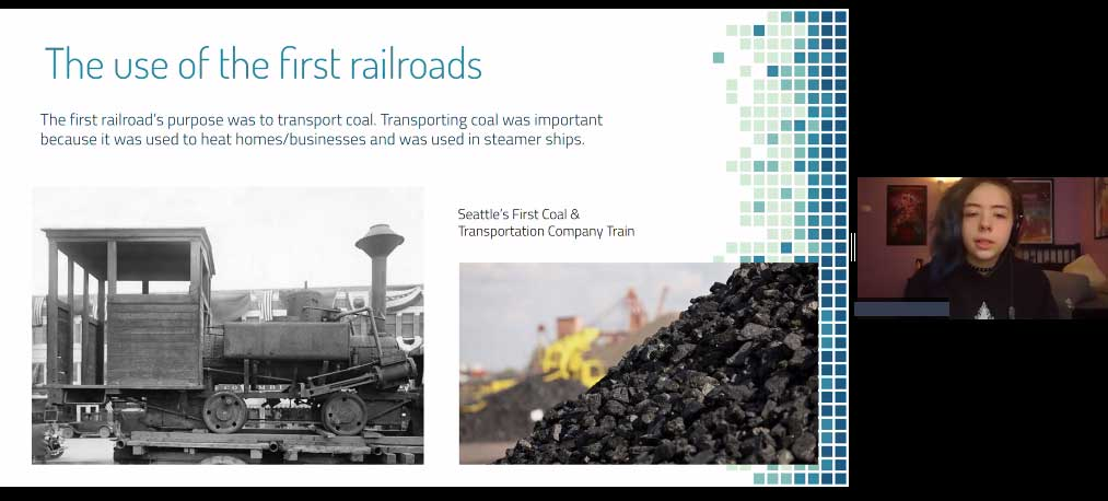 The use of the first railroads, Seattle's first coal and transportation company train
