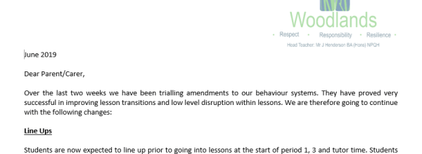 Behaviour Changes Letter