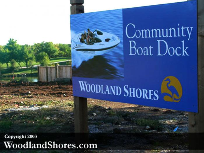 Community Boat Dock Sign during construction.