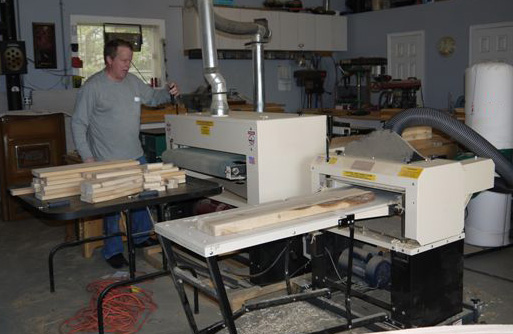 Here's Howard at work in his woodworking shop. He planes workpieces on his Woodmaster Molder/Planer (right) then sands them on his Woodmaster Drum Sander (left).