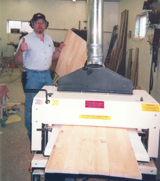 """Tim owns 2 Woodmaster Molder/Planers AND a Woodmaster Drum Sander. He gives his Drum Sander a big """"thumbs up"""" and says it saves him 50% on sanding time."""