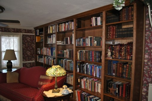 Jim created this handsome built-in bookshelf in their home's library.