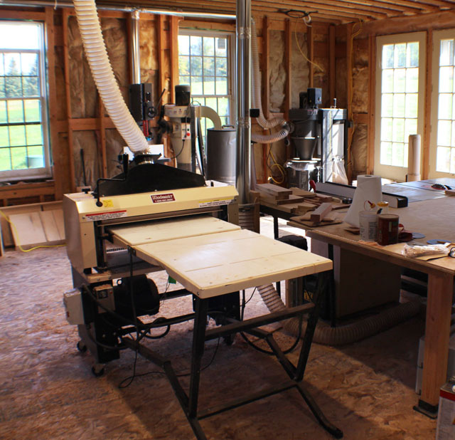 Their Woodmaster's at the center of the action -- Erin and Jeff designed their shop around it