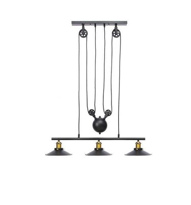 Industrial Style Pendant Lights, 3 Metal Suspended Lights