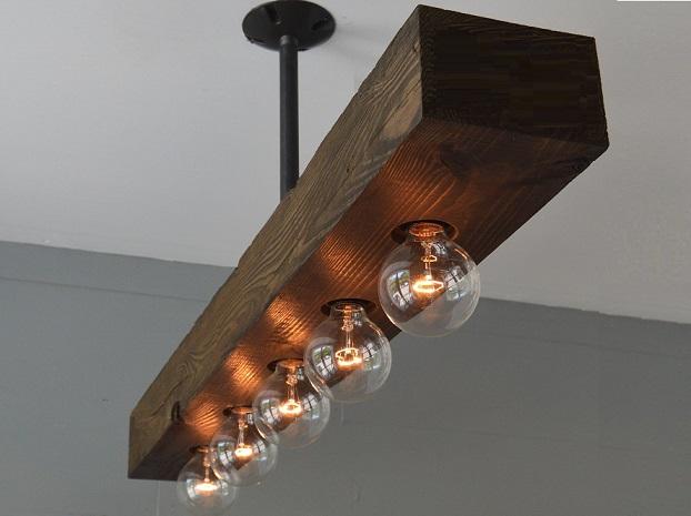 ceiling wood lights, chandelier, wood chandelier, rustic wood lighting, light beam, farmhouse suspended light