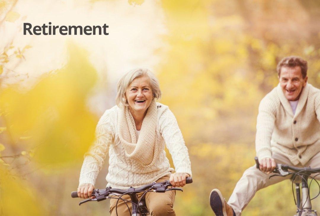 Retirement financial advice - couple enjoying bike ride