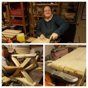 Saning and finishing the Trestle legs and the Maple Seats