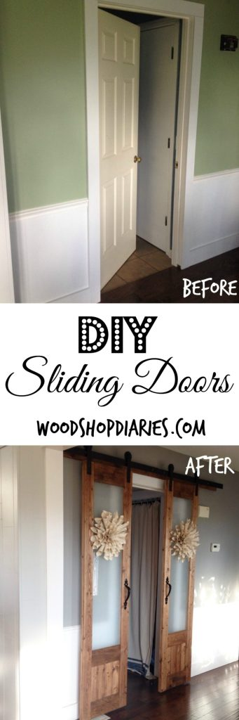 Turn an old hollow core door into French sliding doors AND DIY hardware for about $100