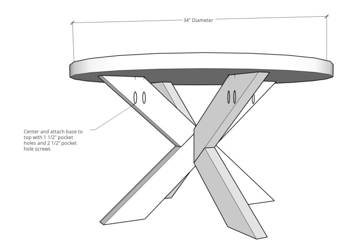 Completed X base round coffee table assembled diagram