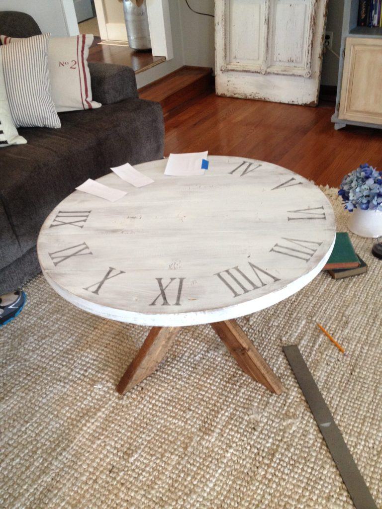 Applying Roman Numerals to Coffee Table top using ink and water