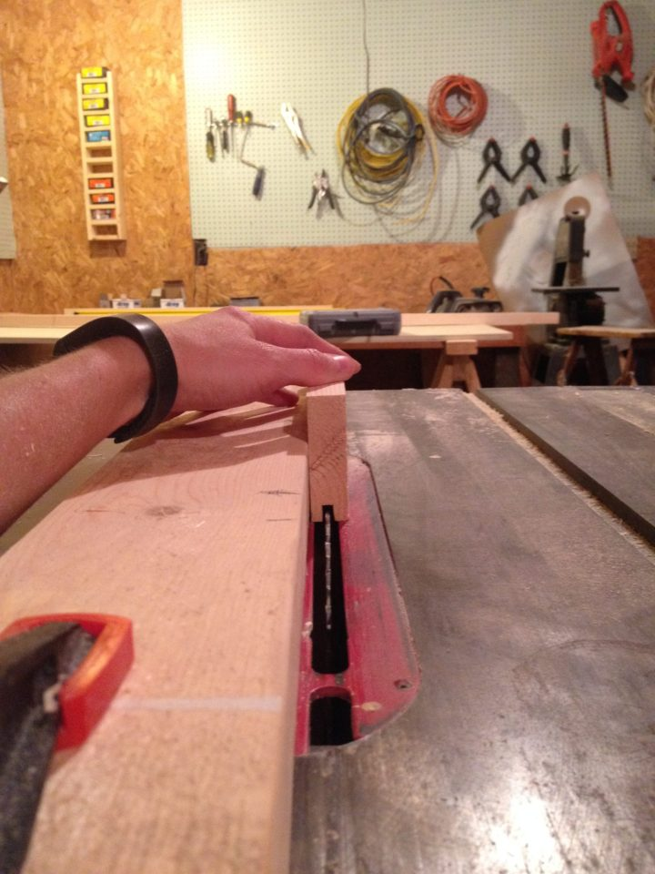 Stop and start marks on table saw rip fence for cutting vertical frame pieces for shaker cabinet doors