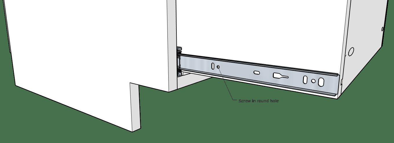 Install middle drawer slide screw into slides