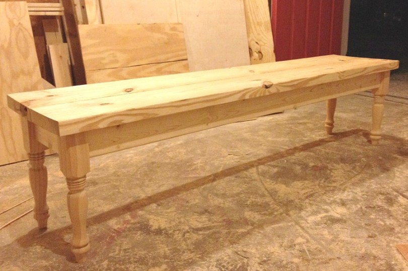 Super Simple Diy Dining Bench With Turned Legs