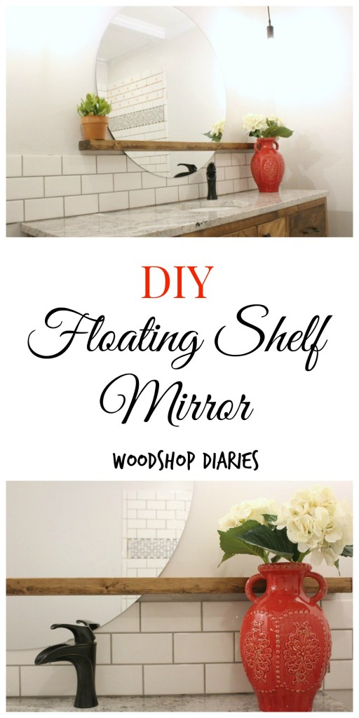 This DIY floating shelf mirror is so easy to make, but makes a huge impact--Woodshop Diaries