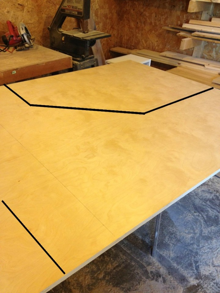Corner desk top plywood layout for top piece
