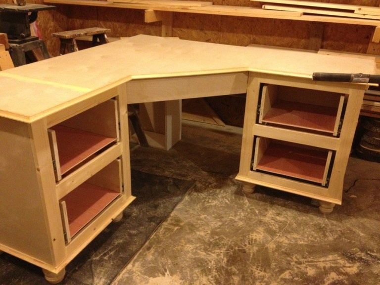 unfinshed corner desk assembled in work shop