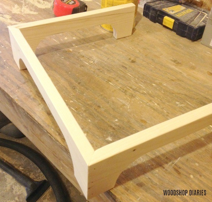 Linen shelf base corners mitered, glued, and nailed together