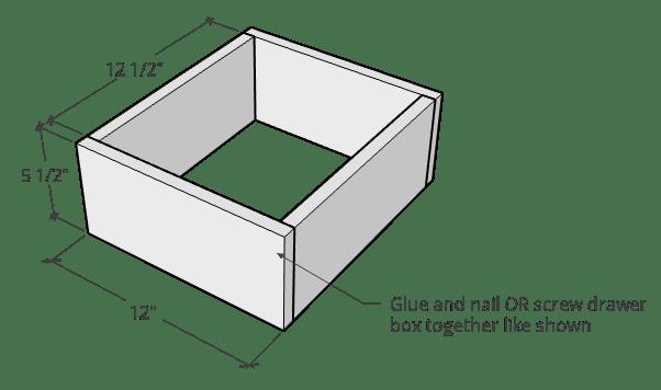 drawer box diagram for linen shelf cabinet