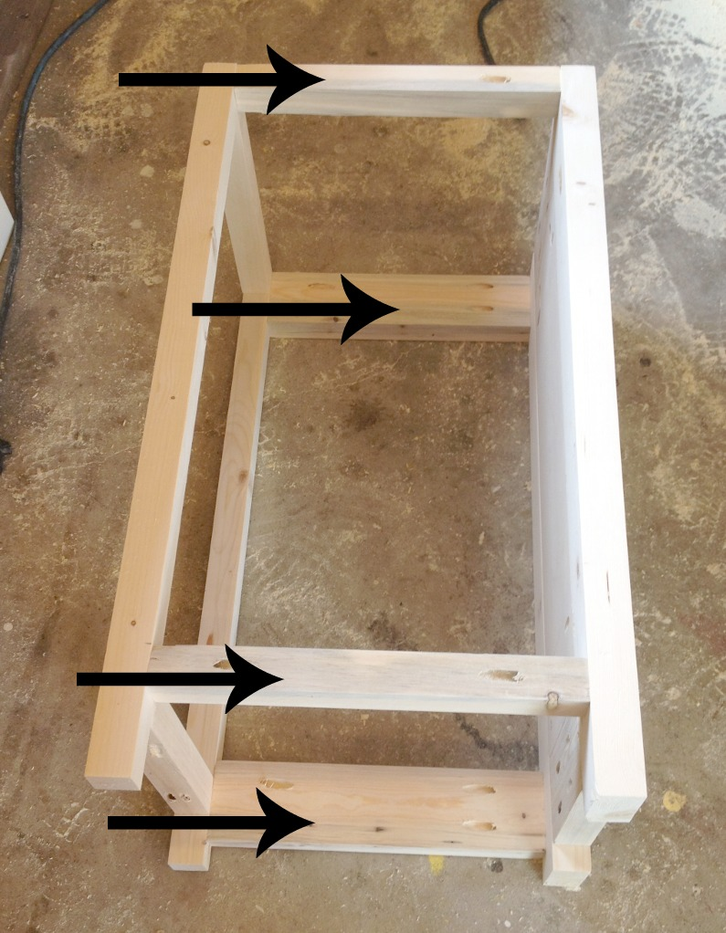 Assemble side panel to middle support frame using pocket holes