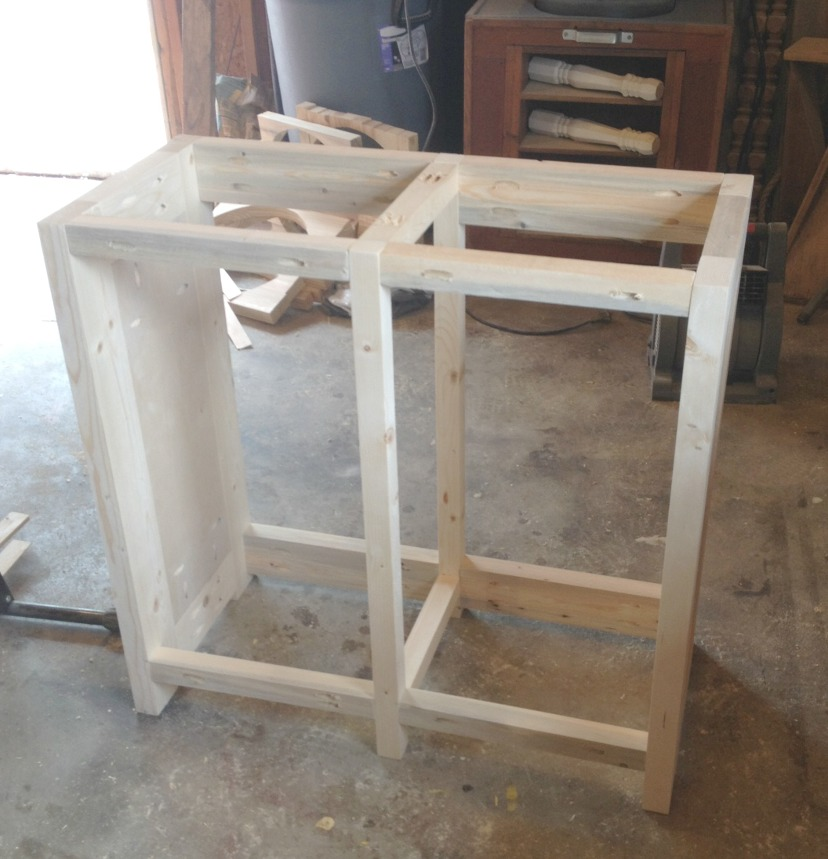 Aquarium cabinet frame assembled using pocket holes