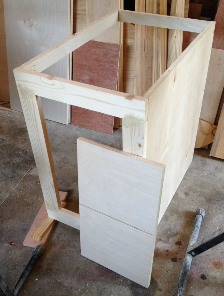 DIY Mudroom built ins--dummy cabinet carcass to cover corner duct