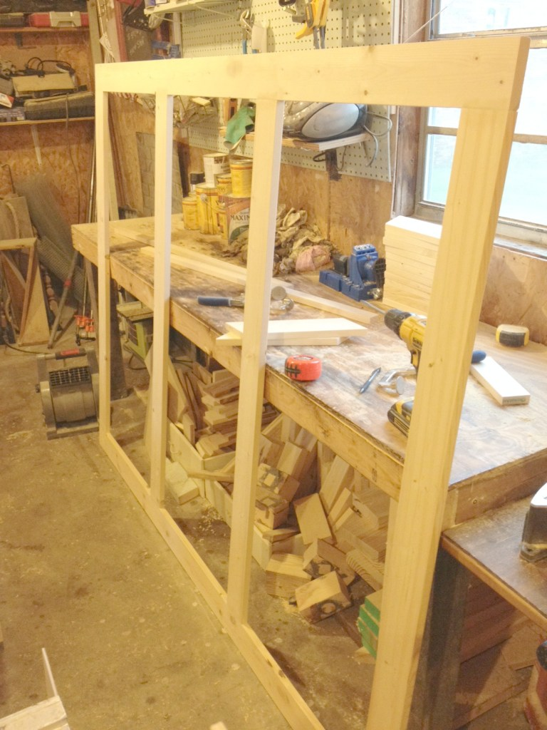 Mudroom Wall Hook Backer Frame made from 1x4s