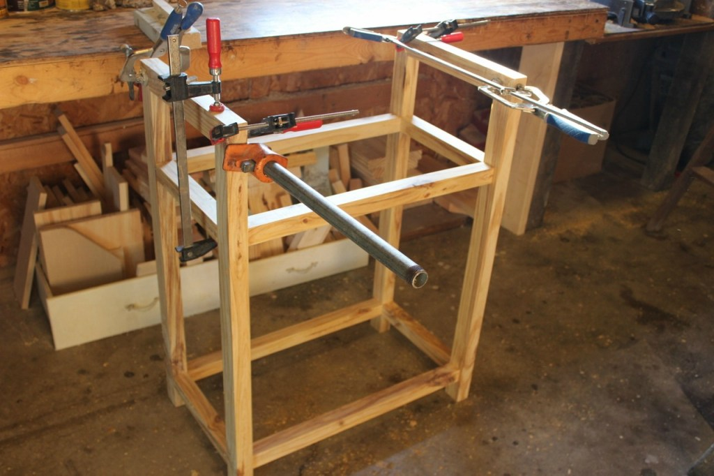 Gluing on top handles of DIY bar cart