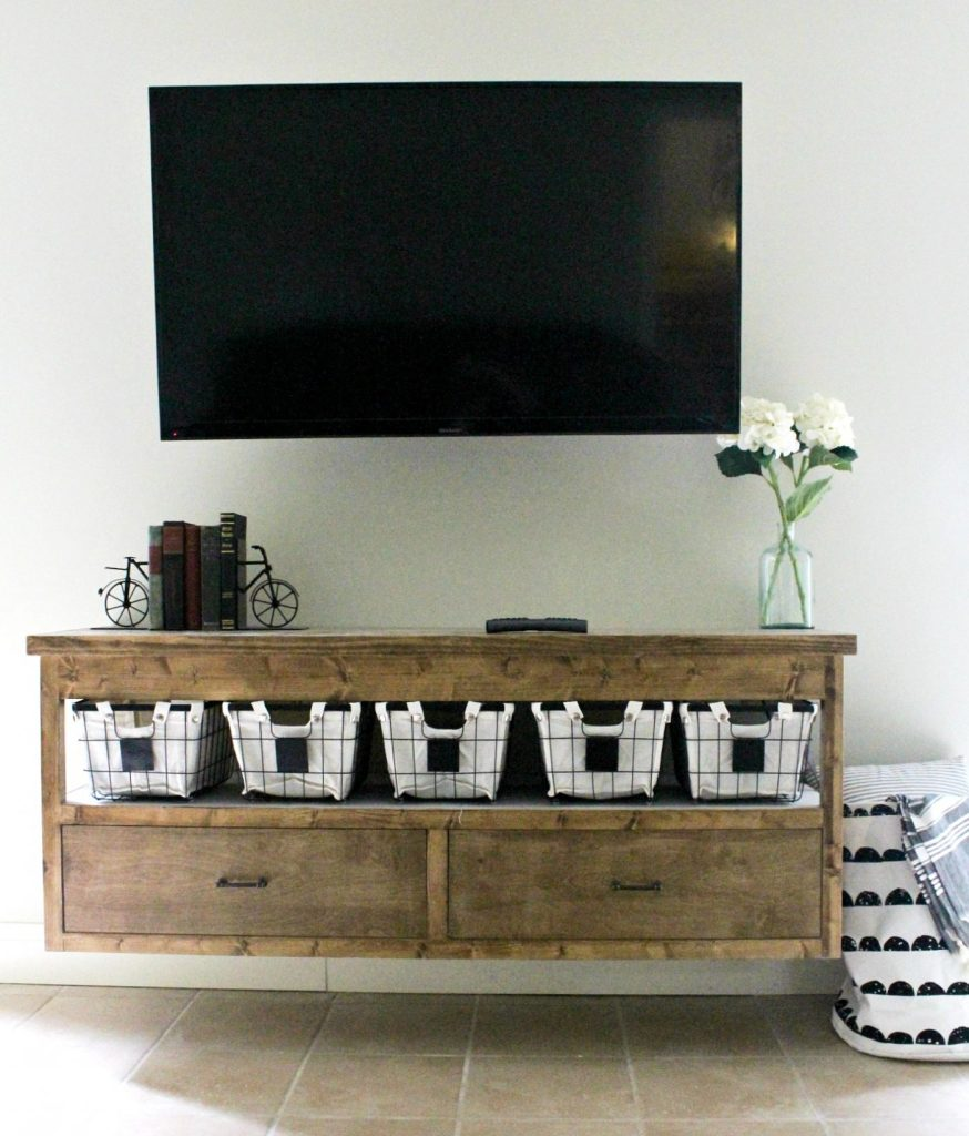 How to build a DIY Floating TV console--free building plans